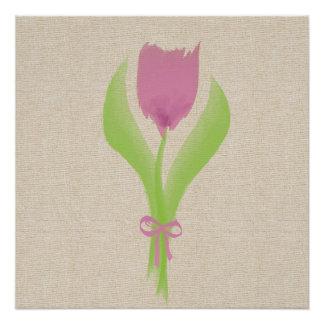 Cute Pink Watercolor Spring Tulip Poster