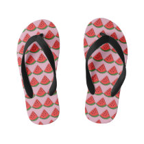 Cute Pink Watermelon Kid's Flip Flops
