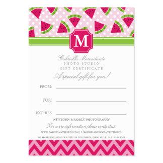 Cute Pink Watermelon Polka Dots Chevron Monogram Large Business Card