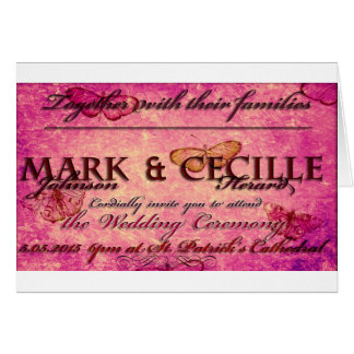 Cute pink Wedding Invitation Greeting Card