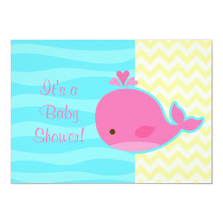 Cute Pink Whale Baby Shower 5x7 Paper Invitation Card