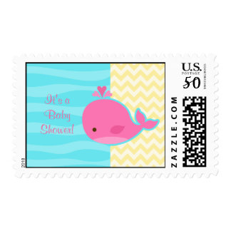 Cute Pink Whale Baby Shower Postage