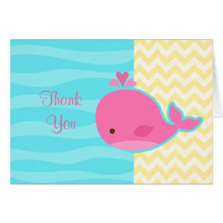 Cute Pink Whale Baby Shower Thank You Card
