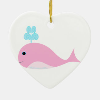 Cute Pink Whale Double-Sided Heart Ceramic Christmas Ornament