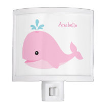 Cute Pink Whale Personalized Night Light