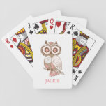 "Cute Pink Whimsical Owl Personalized Playing Cards<br><div class=""desc"">A cute brown owl decorated with floral illustrations and whimsical patterns in pink and white. Personalize with your name by editing the text in the text box.</div>"