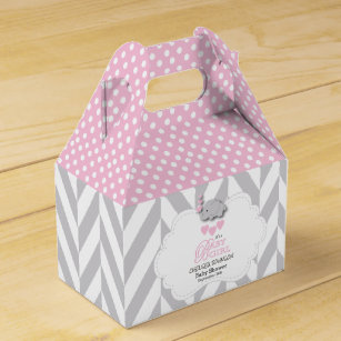 elephant baby shower favor boxes zazzle  cute pink white and gray elephant favor box