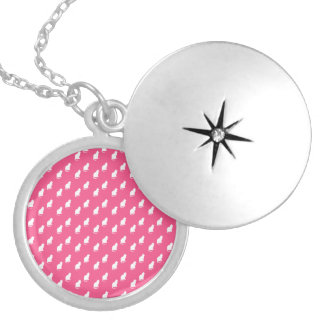Cute pink white cat pattern round locket necklace