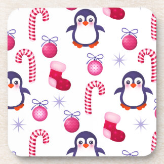 Cute Pink & White Christmas Pattern with Penguins Beverage Coaster