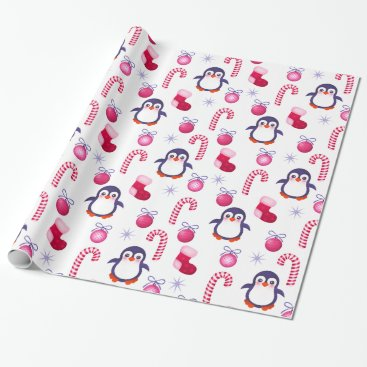 Christmas Themed Cute Pink & White Christmas Pattern with Penguins Wrapping Paper