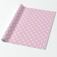 Cute Pink White Dots Baby Girl Wrapping Paper 1