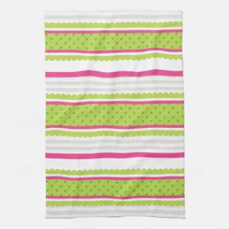 Cute Pink White Green Stripes Polka Dot Pattern Hand Towel