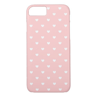 Cute Pink & White Hearts Patterned iPhone 7 case