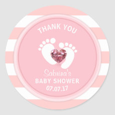 Cute Pink White Stripes Baby Shower/Sprinkle Girl Classic Round Sticker