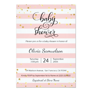 Cute Pink White Stripes Black Gold Baby Shower Card