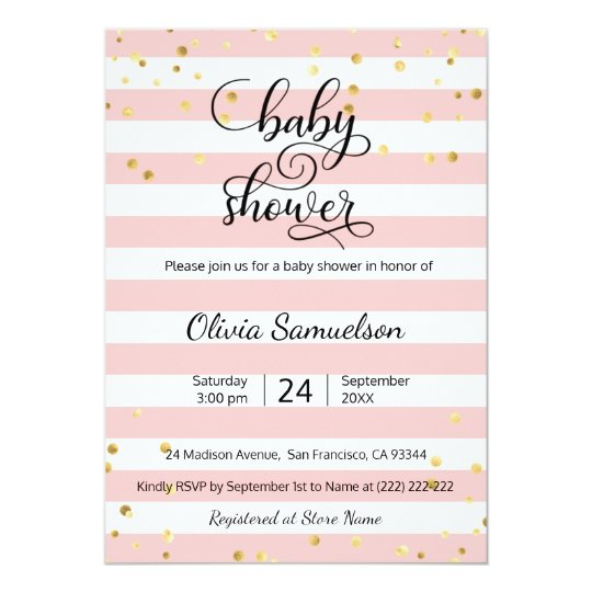Cute pink white stripes black gold baby shower invitation zazzle cute pink white stripes black gold baby shower invitation filmwisefo