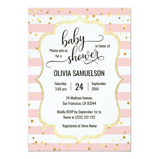 Cute Pink White Stripes Gold Black Baby Shower Card