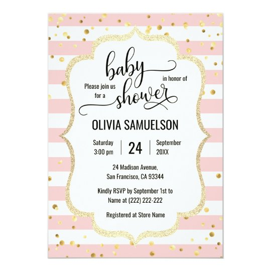 Cute pink white stripes gold black baby shower invitation zazzle cute pink white stripes gold black baby shower invitation filmwisefo