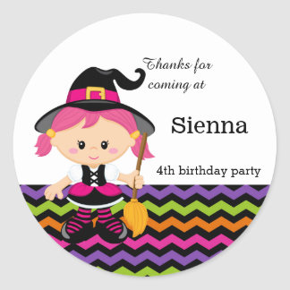 Cute pink witch classic round sticker