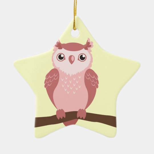 Cute PInk Woodland Owl Ceramic Ornament