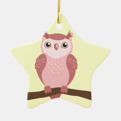 Cute PInk Woodland Owl Double-Sided Star Ceramic Christmas Ornament