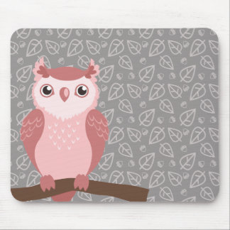 Cute PInk Woodland Owl Mouse Pad
