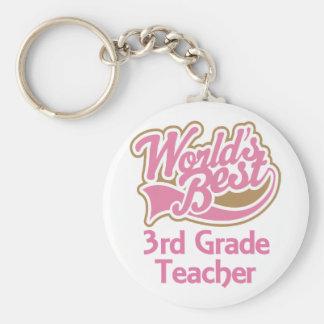 Cute Pink Worlds Best 3rd Grade Teacher Key Chain