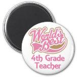 Cute Pink Worlds Best 4th Grade Teacher 2 Inch Round Magnet