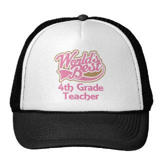 Cute Pink Worlds Best 4th Grade Teacher Hat