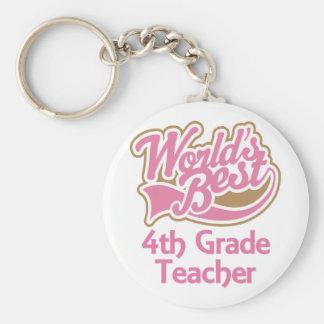 Cute Pink Worlds Best 4th Grade Teacher Keychain