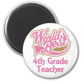 Cute Pink Worlds Best 4th Grade Teacher Magnet