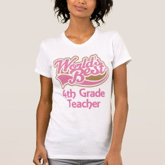 Cute Pink Worlds Best 4th Grade Teacher Shirt