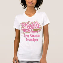 Cute Pink Worlds Best 4th Grade Teacher T-Shirt