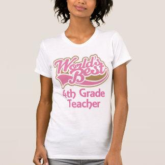 Cute Pink Worlds Best 4th Grade Teacher Tee Shirts