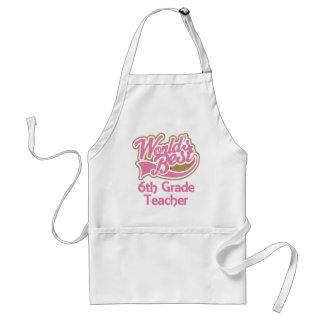 Cute Pink Worlds Best 6th Grade Teacher Adult Apron