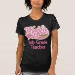 Cute Pink Worlds Best 6th Grade Teacher T Shirt