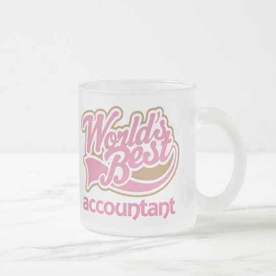 Cute Pink Worlds Best Accountant Frosted Glass Coffee Mug