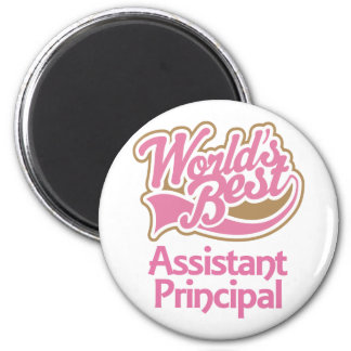 Cute Pink Worlds Best Assistant Principal 2 Inch Round Magnet