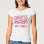 Cute Pink Worlds Best Barber T Shirt