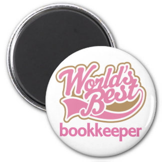 Cute Pink Worlds Best Bookkeeper 2 Inch Round Magnet