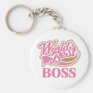 Cute Pink Worlds Best Boss Basic Round Button Keychain