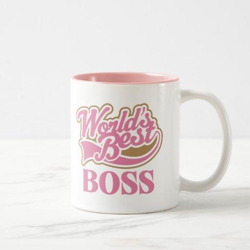 Cute Pink Worlds Best Boss Coffee Mugs