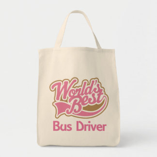 Cute Pink Worlds Best Bus Driver Tote Bag