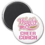 Cute Pink Worlds Best Cheer Coach Fridge Magnets