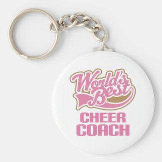 Cute Pink Worlds Best Cheer Coach Keychain