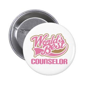 Cute Pink Worlds Best Counselor Button