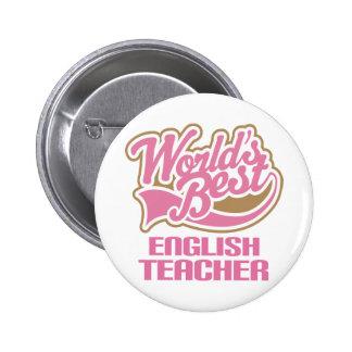 Cute Pink Worlds Best English Teacher Button