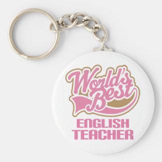 Cute Pink Worlds Best English Teacher Keychain