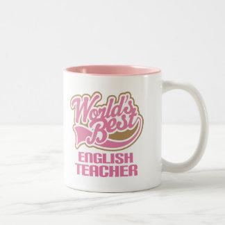 Cute Pink Worlds Best English Teacher Two-Tone Coffee Mug