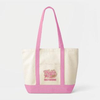 Cute Pink Worlds Best Historian Canvas Bag